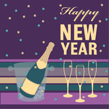 Happy New Year. Champagne bottle and glass Royalty Free Stock Photos