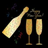 Happy new year champagne bottle and glasses silhouette with confetti pattern. Happy new year gold champagne bottle and glasses silhouette with confetti pattern Royalty Free Stock Photography
