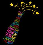 Happy New Year champagne bottle word cloud. New Year's Eve celebration greeting card Royalty Free Stock Photo