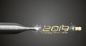 Happy New Year 2019 champagne bubbles firework gold black abstract background vector illustration