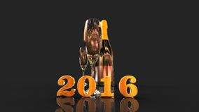 Happy new year 2016 with champagne. 3D gold  numbers with a champagne bottle and 2 glasses Stock Image