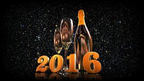 Happy new year 2016 with champagne. 3D gold  numbers with a champagne bottle and 2 glasses Stock Images
