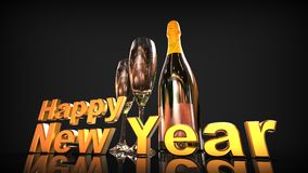 Happy new year with champagne. 3D gold  numbers with a champagne bottle and 2 glasses Royalty Free Stock Image