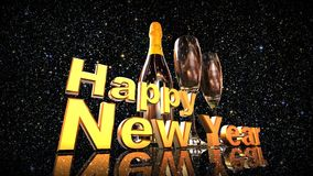 Happy new year with champagne. 3D gold  numbers with a champagne bottle and 2 glasses Stock Image