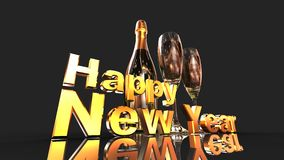 Happy new year with champagne. 3D gold  numbers with a champagne bottle and 2 glasses Royalty Free Stock Images
