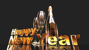 Happy new year with champagne. 3D gold  numbers with a champagne bottle and 2 glasses Stock Photo