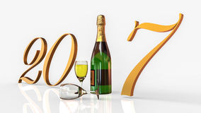 Happy New Year 2017 with Champagne. 3D render image representing a Happy New Year 2017 with Champagne Royalty Free Illustration