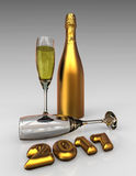 Happy new year 2017 with champagne. 3D render image representing happy new year 2017 with champagne Stock Image