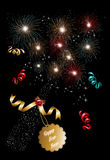 Happy new year 2014 champagne fireworks background Stock Photos