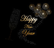 Happy new year 2014 champagne fireworks background. Happy new year 2014 holidays champagne flute glass with fireworks sparkles greeting card background. EPS10 Stock Photos