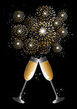Happy new year 2014 champagne fireworks greeting card. Happy new year 2014 holidays fireworks and flute glass greeting card background. EPS10 illustration Stock Photos