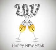 Happy new year 2017 with champagne glasses.  Stock Photography