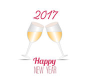 Happy new year 2017 with champagne glasses Royalty Free Stock Image