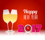 Happy new year 2017 with champagne glasses.  Stock Image