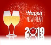 Happy new year 2019 with champagne glasses. Vector Royalty Free Stock Photo