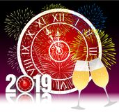 Happy new year 2019 with champagne glasses. Vector Stock Photos