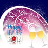 Happy new year 2019 with champagne glasses. Vector Royalty Free Stock Photos