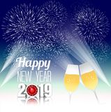 Happy new year 2019 with champagne glasses. Vector Stock Photography