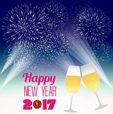 Happy new year 2017 with champagne glasses. Vector Stock Images