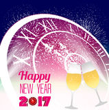 Happy new year 2017 with champagne glasses. Vector Royalty Free Stock Images
