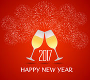 Happy new year 2017 with champagne glasses. Vector Stock Image