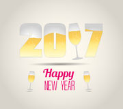 Happy new year 2017 with champagne glasses. Vector Stock Photos