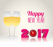 Happy new year 2017 with champagne glasses. Vector Royalty Free Stock Image