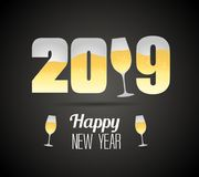 Happy new year 2019 with champagne glasses. Vector Royalty Free Stock Photography