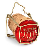 Happy New Year. Champagne red cork  on white background Stock Photography