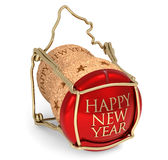 Happy New Year. Champagne red cork  on white background Stock Photo