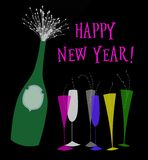 Happy New Year Champagne vector illustration