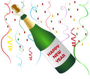 Happy New Year Champagne. Vector illustration of green new year champagne bottle and popping its cork on a stripes decorated background Royalty Free Stock Images