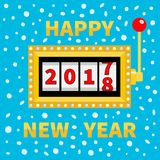 Happy New Year 2017 changing for 2018. Slot machine. Jackpot. Golden Glowing lamp light. Red handle lever Big win Online casino, g. Ambling club. Merry Christmas Stock Images