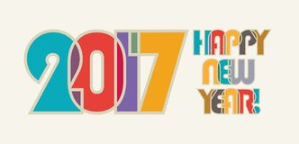 HAPPY NEW YEAR. Cheerful and beautiful inscription of color overlapping letters. 2017, HAPPY NEW YEAR . Cheerful and beautiful inscription of color overlapping vector illustration