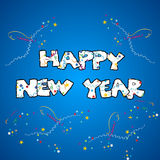 Happy new year. Cheerful greeting card of the celebration of new year stock illustration