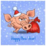 Happy New Year. 2019. Cheerful pig with gifts. Vector. Happy New Year. 2019. Cheerful pig with gifts Vector royalty free illustration