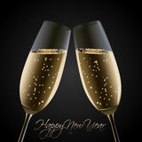 Happy New Year - Cheers!. Happy New Year card - Cheers! With two glasses of champagne Royalty Free Stock Image