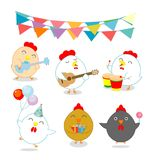 Set of party chicken, rooster,cock, hen, chick, brood, flapper, juvenile, squab, Vector illustration. Happy new year, chicken background, happy cock with Happy Stock Images
