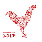 Happy new year, chicken with flower, chinese style, vector. Celebrate card illustration Stock Photos