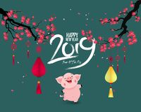 Happy New Year 2019. Chienese New Year, Year of the Pig. Cherry blossom background. Happy New Year 2019. Chienese New Year, Year of the Pig vector illustration