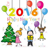 Happy New Year 2016. Children celebrating with confetti, gifts and Christmas tree Royalty Free Stock Photo