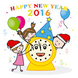 Happy New Year 2016. Children celebrating the New Year party Royalty Free Stock Images