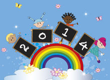 Happy new year. Year 2014 with children on the rainbow Stock Photos