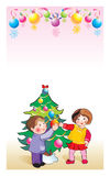 Happy new year children\'s. Happy new year, nice children, smile, christmas, colour, colourful  fur garlands graphic green hair happiness happy holiday Royalty Free Stock Images