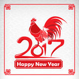 Happy new year 2017 chinese art style red rooster. For design and decorate vector illustration eps10 vector illustration
