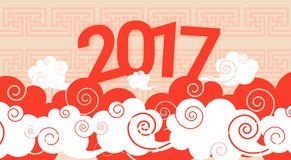 Happy New 2017 Year Chinese Asian Traditional Decoration Banner. Flat Vector Illustration Stock Illustration