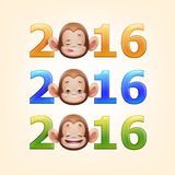Happy New Year of the Chinese Calendar Monkey Christmas Card. Illustration of 2016 Happy New Year of the Chinese Calendar Monkey Christmas Card Vector Stock Photo