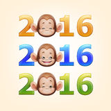 Happy New Year of the Chinese Calendar Monkey Christmas Card. Illustration of 2016 Happy New Year of the Chinese Calendar Monkey Christmas Card Vector Royalty Free Stock Image