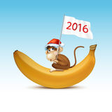 2016 Happy New Year of the Chinese Calendar. Monkey Christmas Card Vector Stock Images