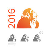 Happy New Year of the Chinese Calendar Monkey Christmas Card. 2016 Happy New Year of the Chinese Calendar Monkey Christmas Card Vector Stock Images